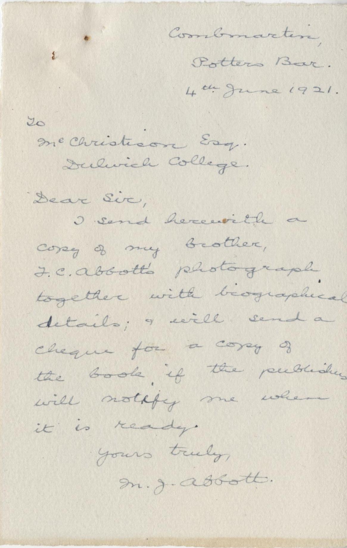 Abbott FC Brother Letter