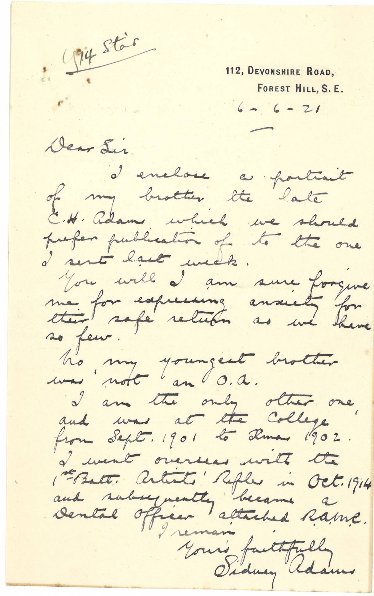 Adams CH Second Brother Letter
