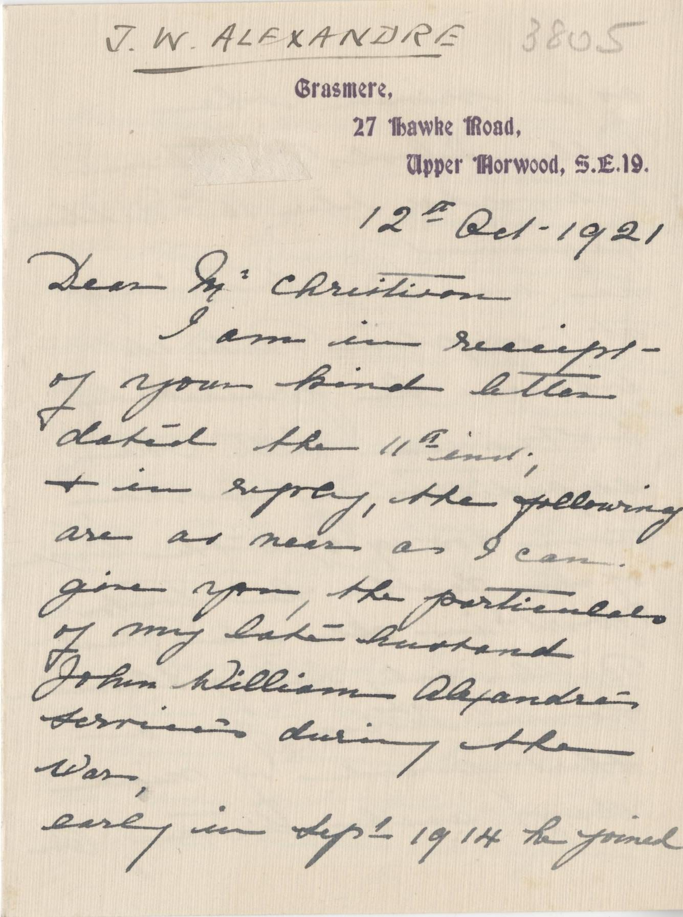 Alexandre JW Second Widow Letter 1