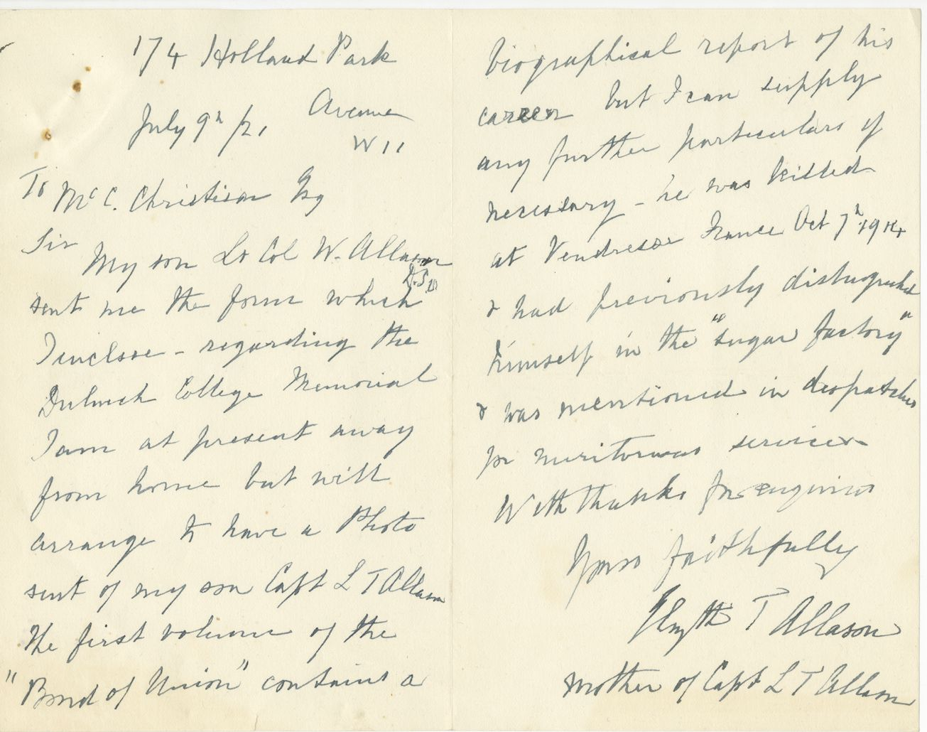 Allason LT Mother Letter