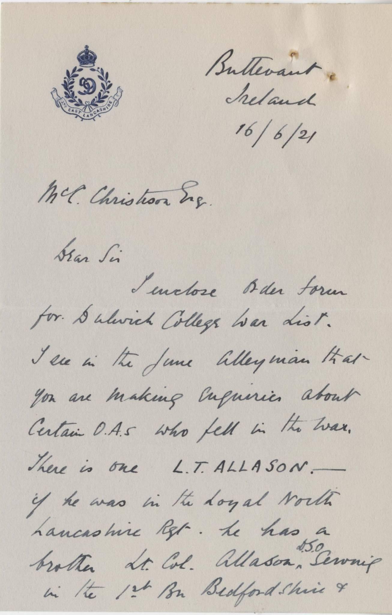 Allason LT Shortland Letter 1