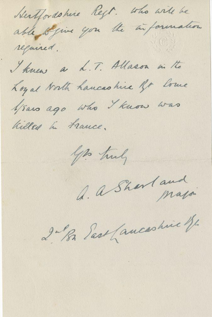 Allason LT Shortland Letter 2