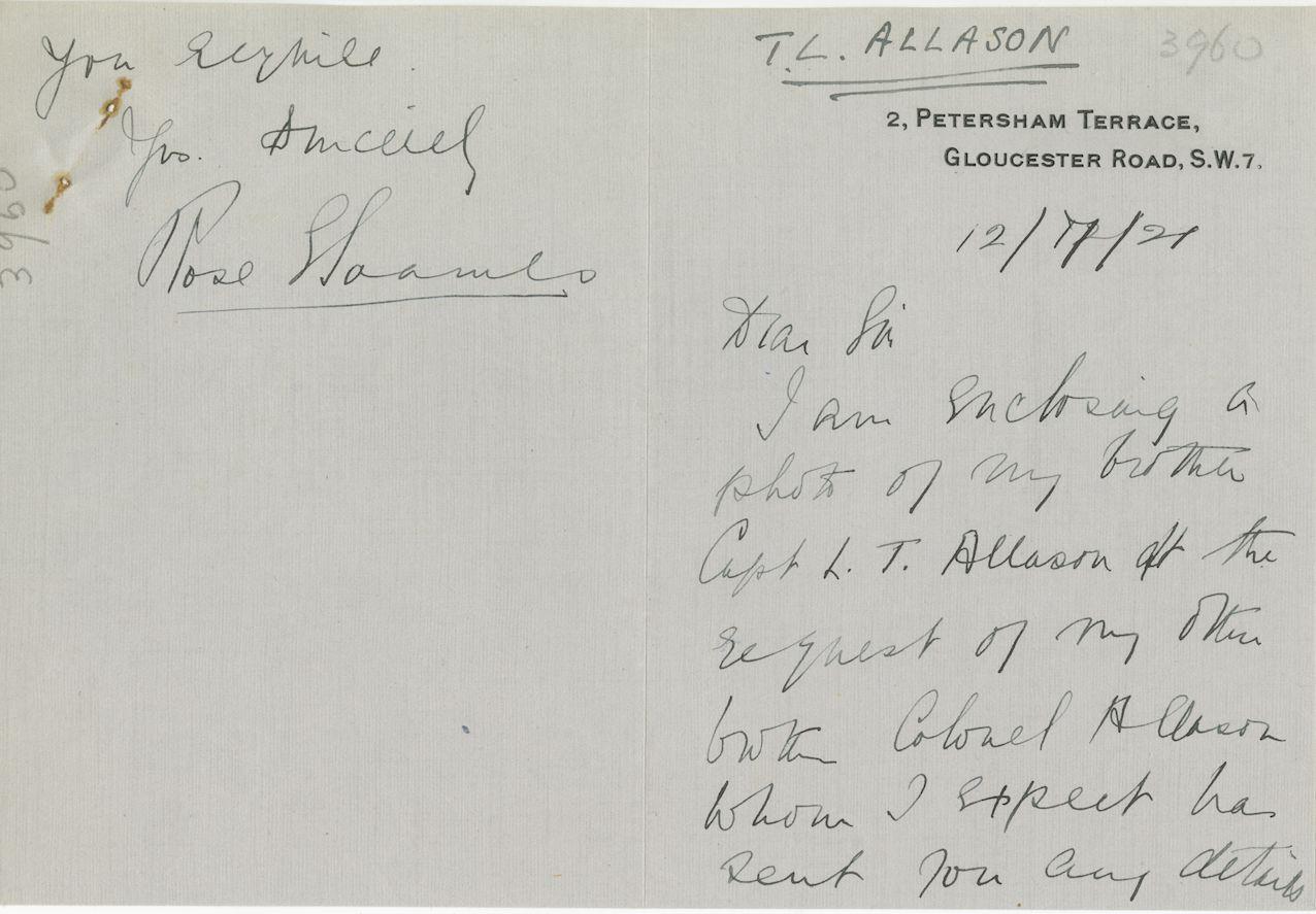 Allason LT Sister Letter