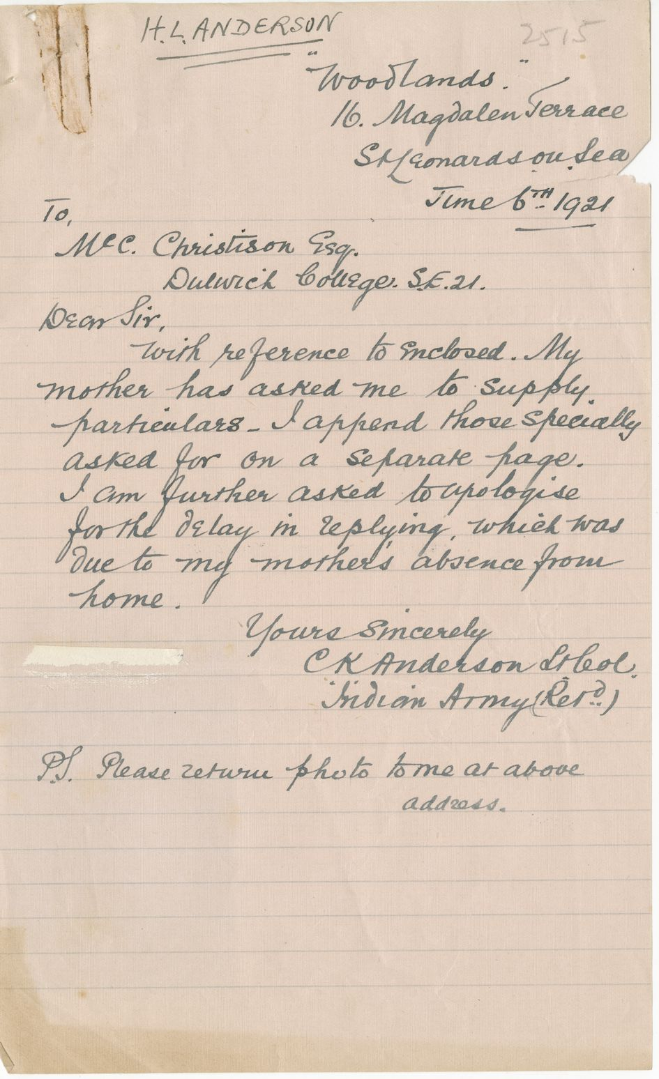 Anderson HL Second Brother Letter