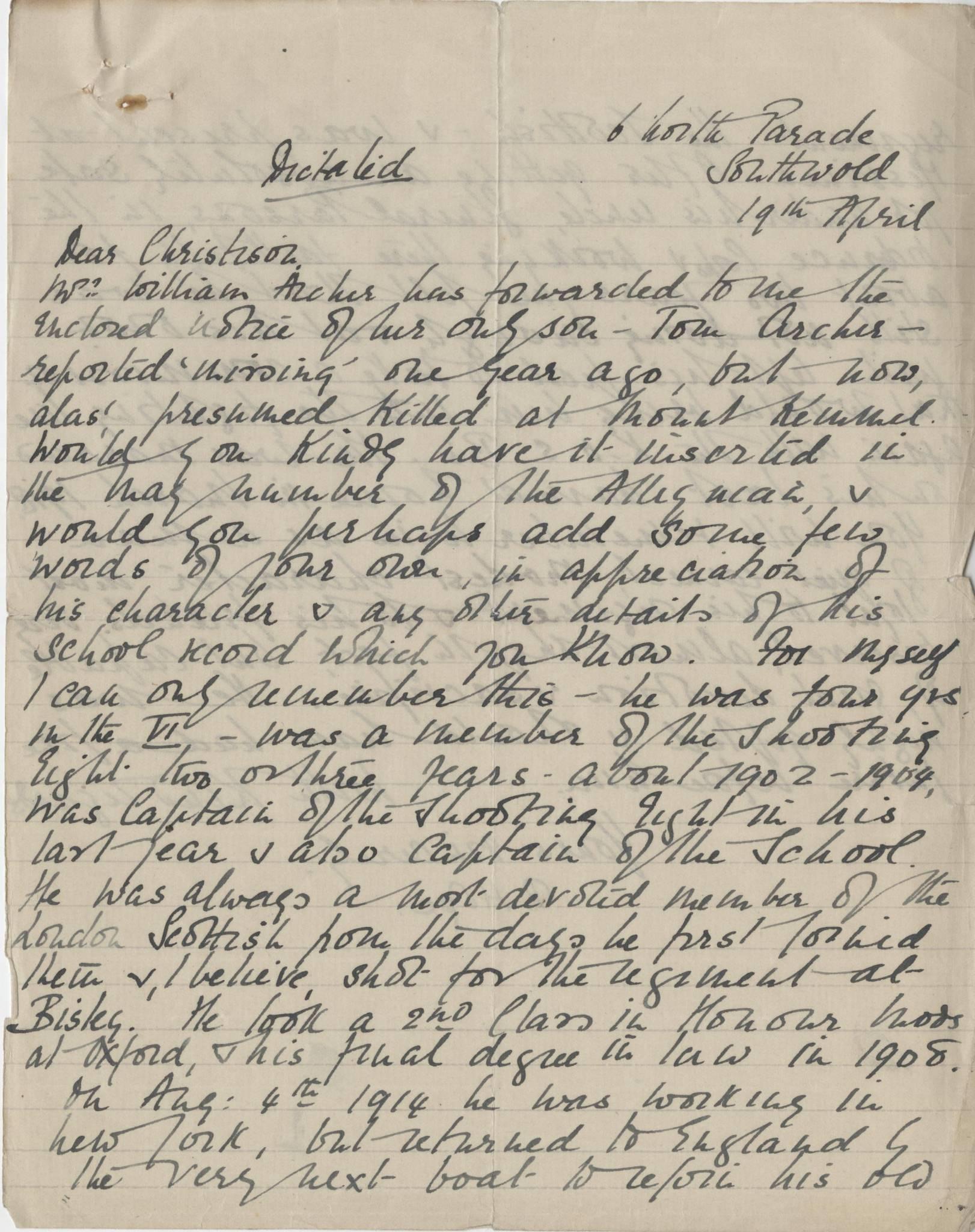 Archer T Hope Letter 1