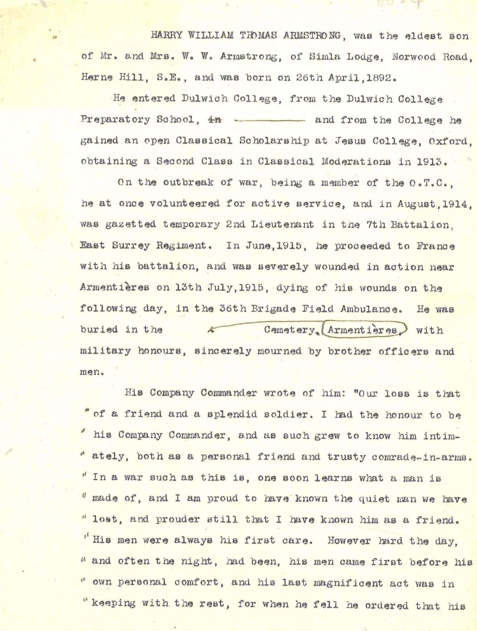 Armstrong HWT Career Description 1