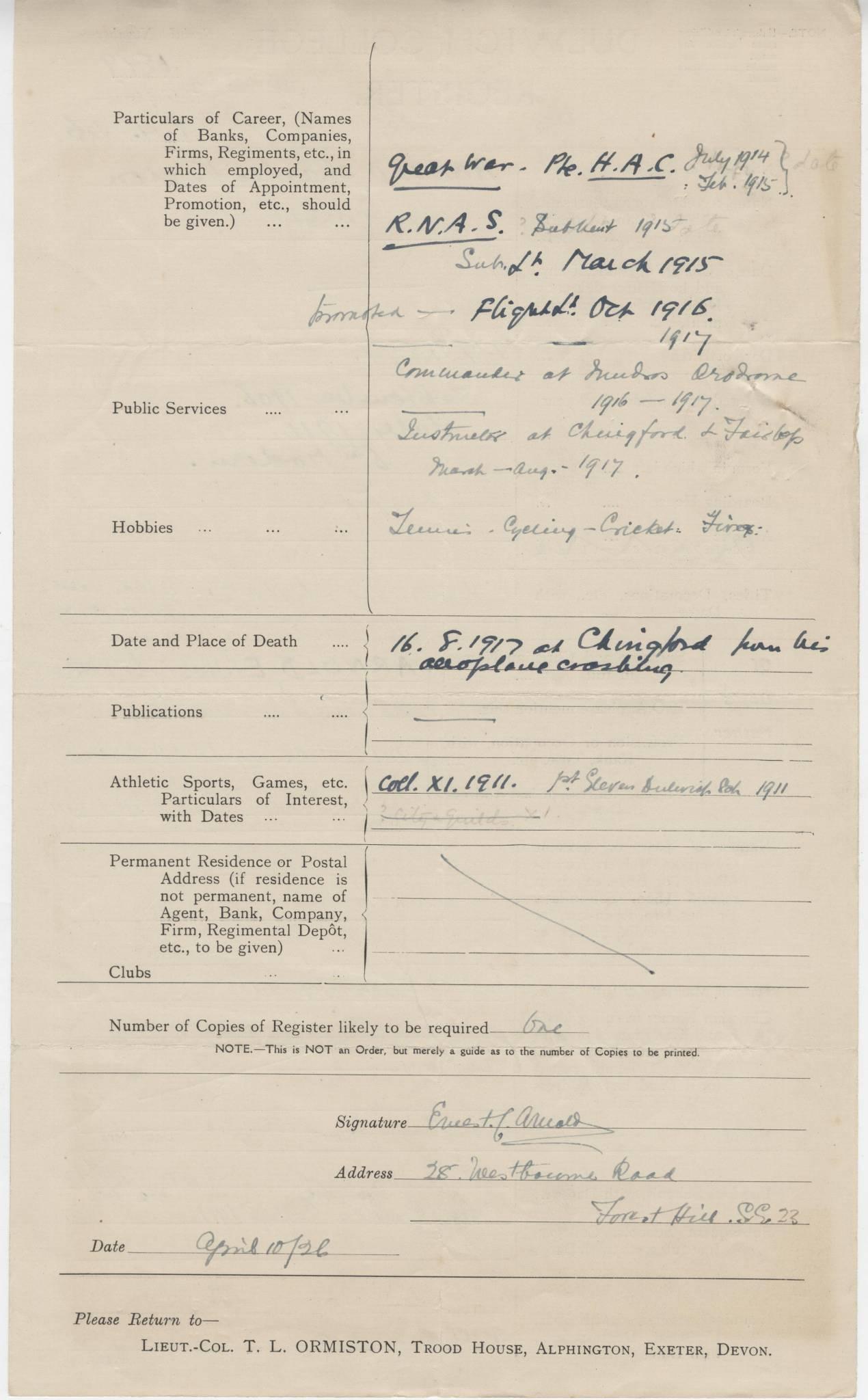 Arnold CV Questionnaire 2