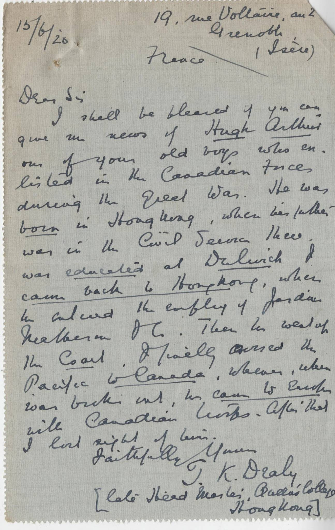 Arthur H First Dealy Letter