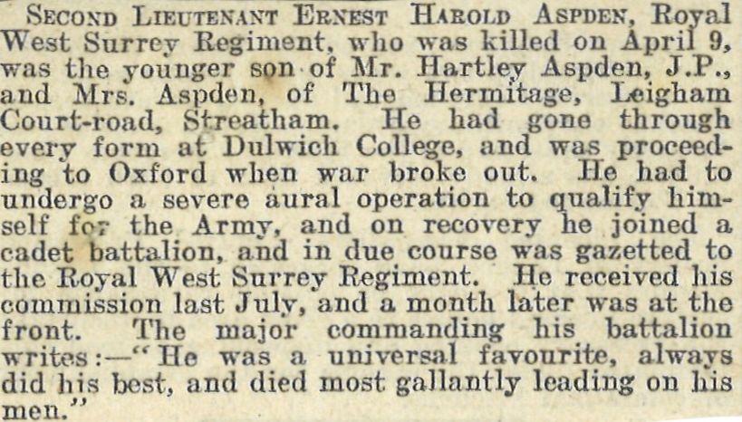 Aspden EH Obituary