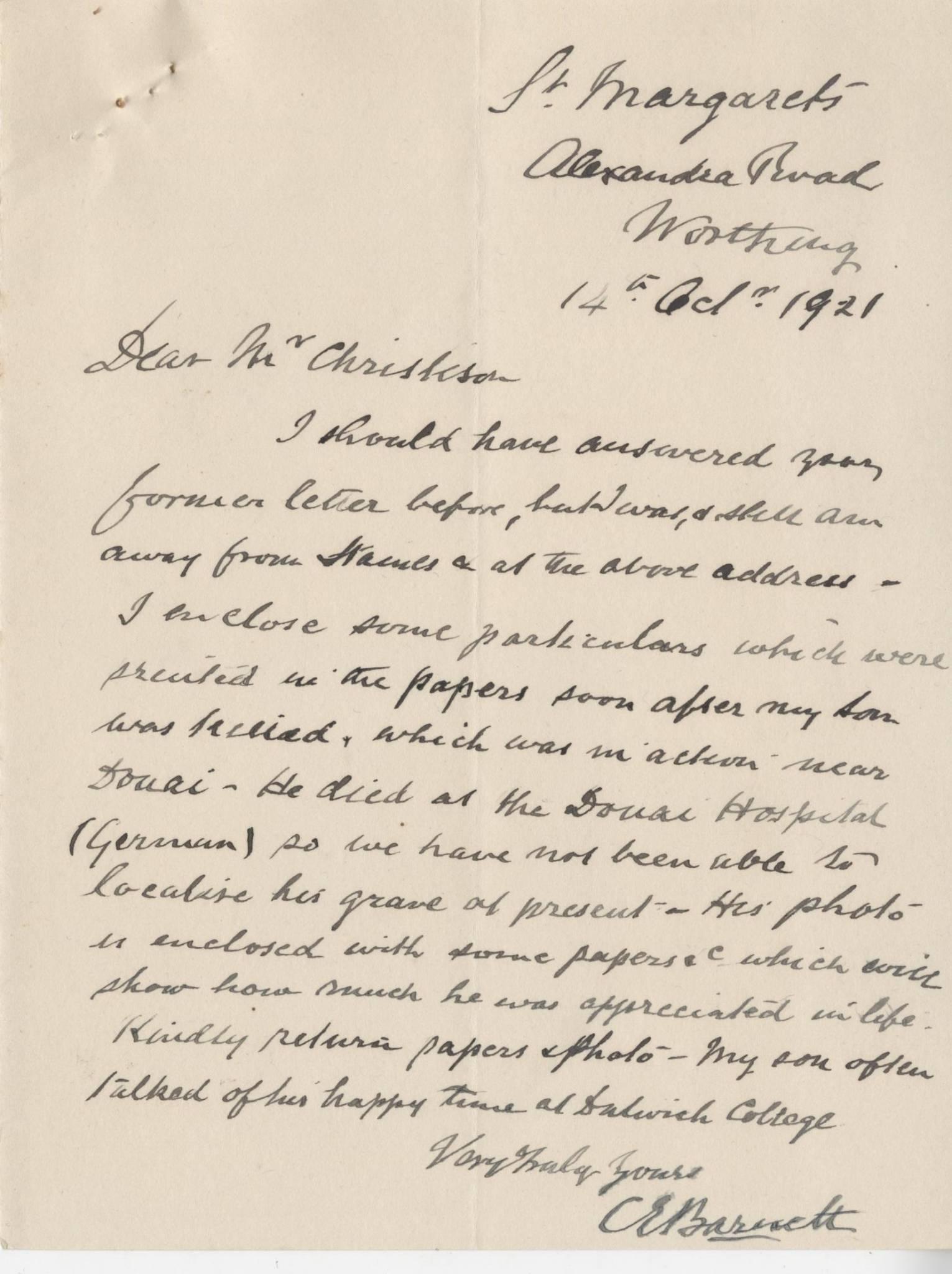 Barnett CE First Father Letter