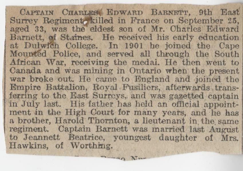 Barnett CE Obituary
