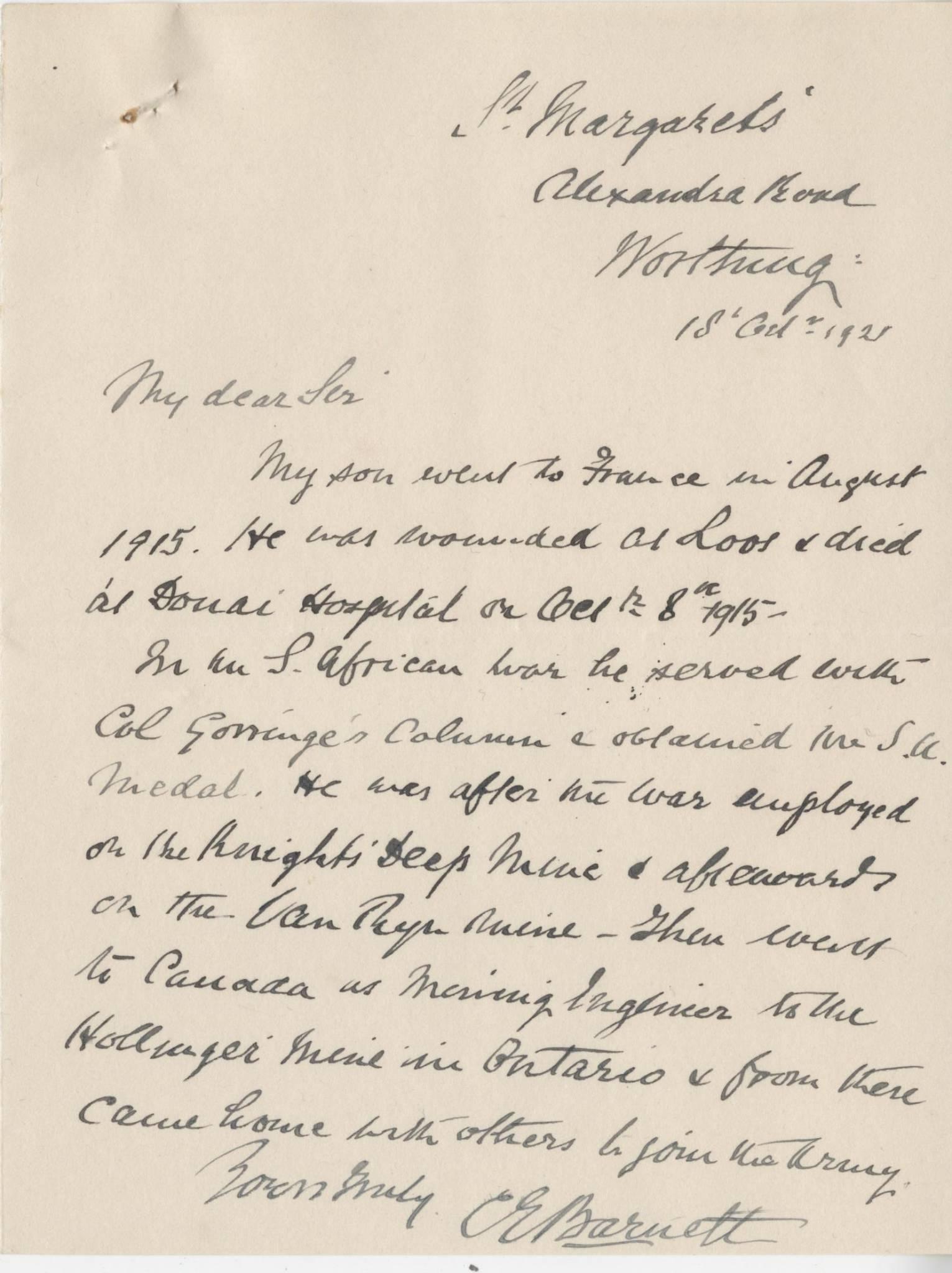 Barnett CE Second Father Letter