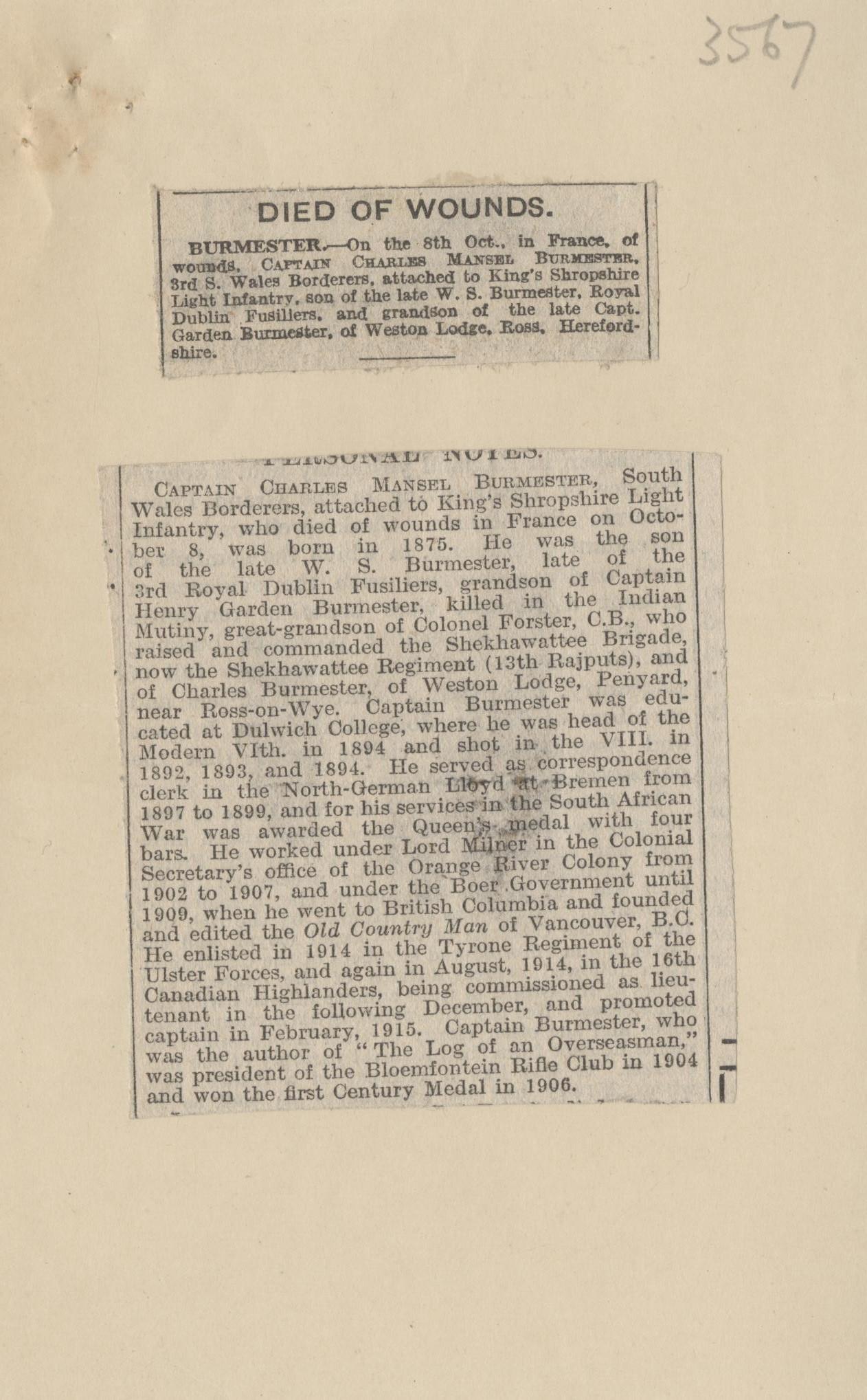 Burmester CM Obituaries