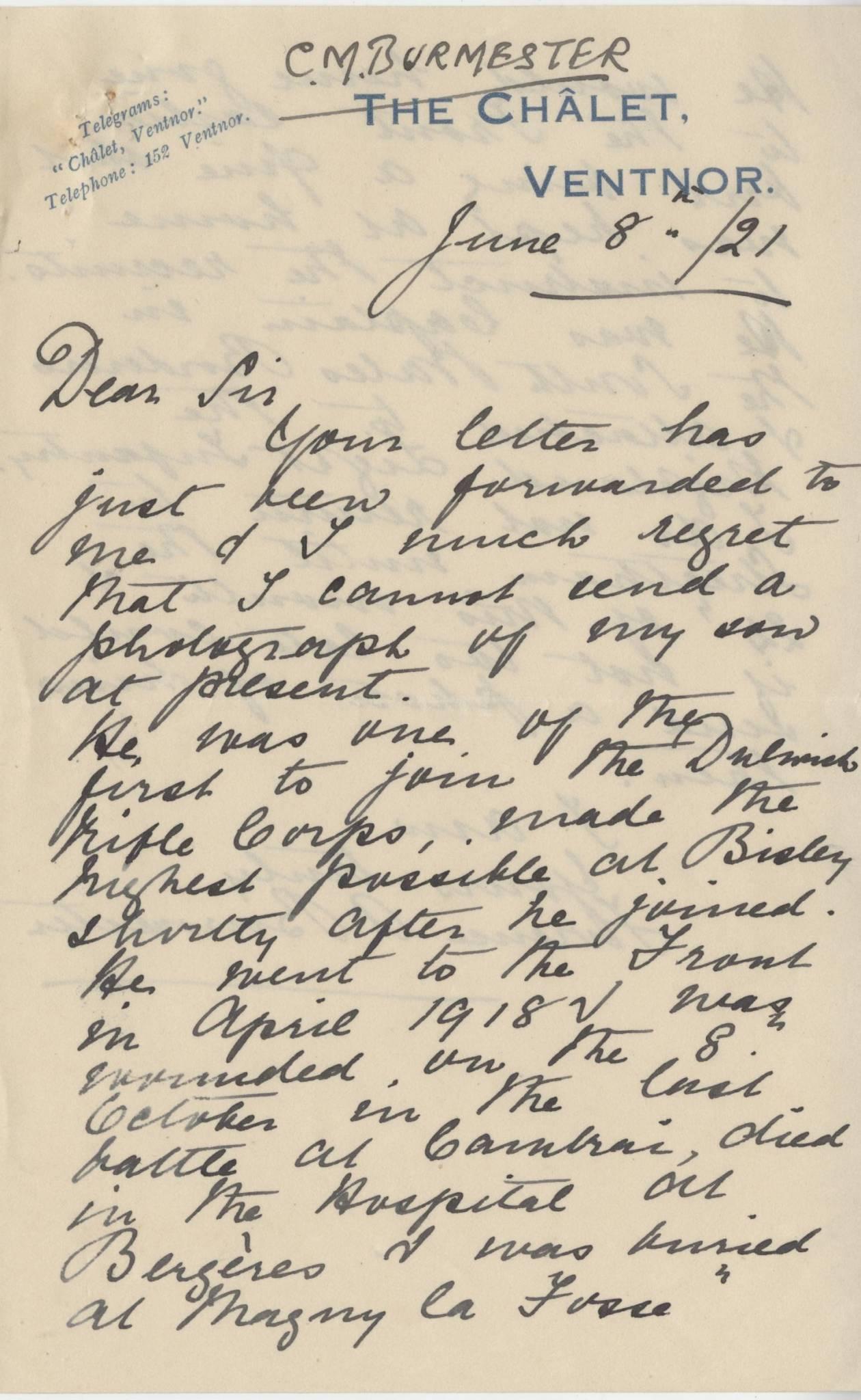 Burmester CM Second Mother Letter 1