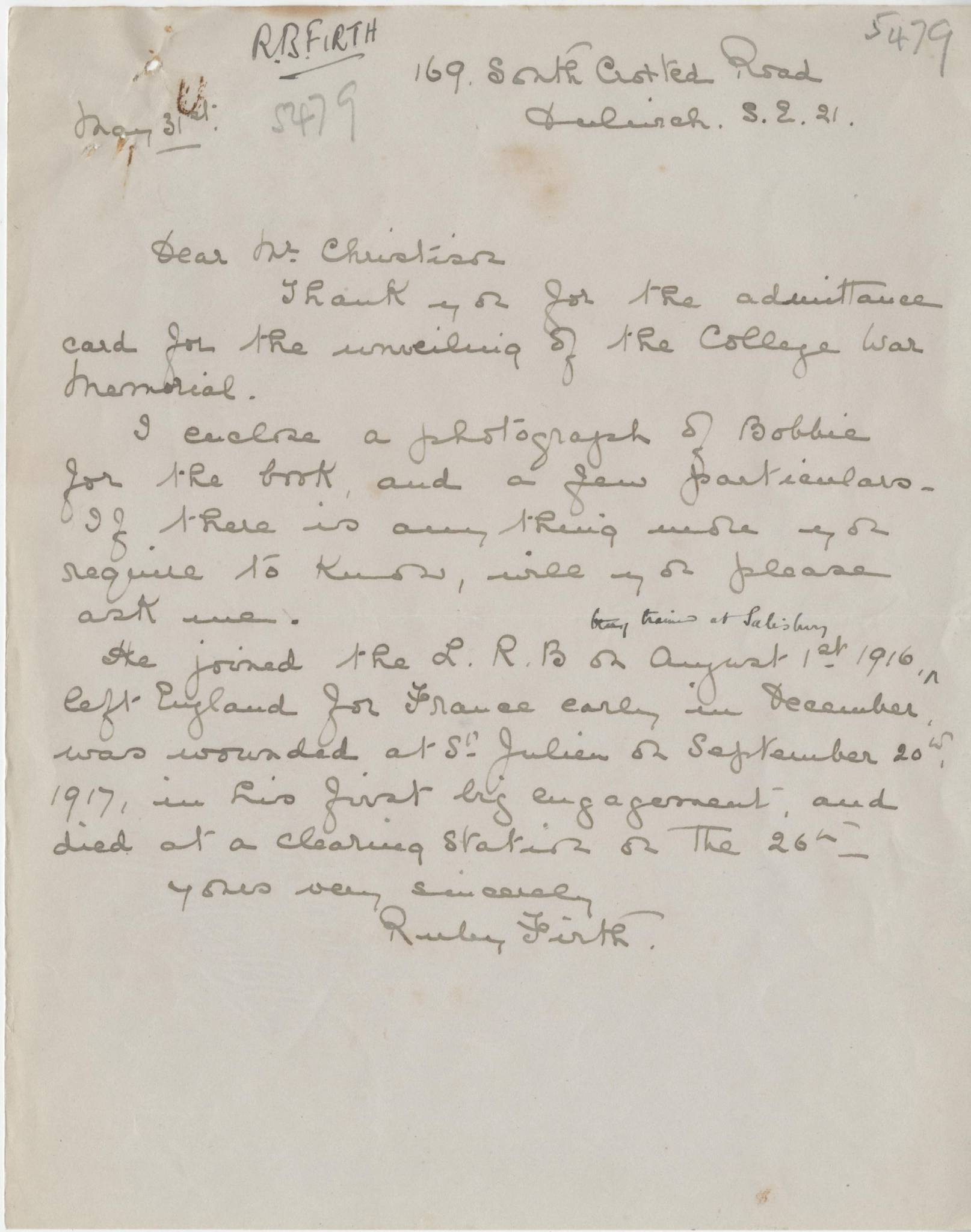Firth RB Widow Letter