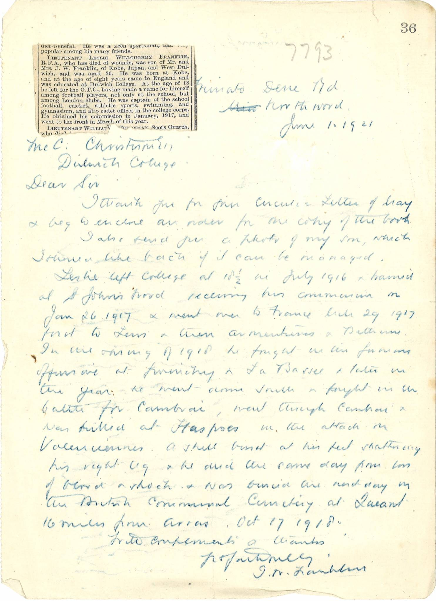 Franklin LW Father Letter