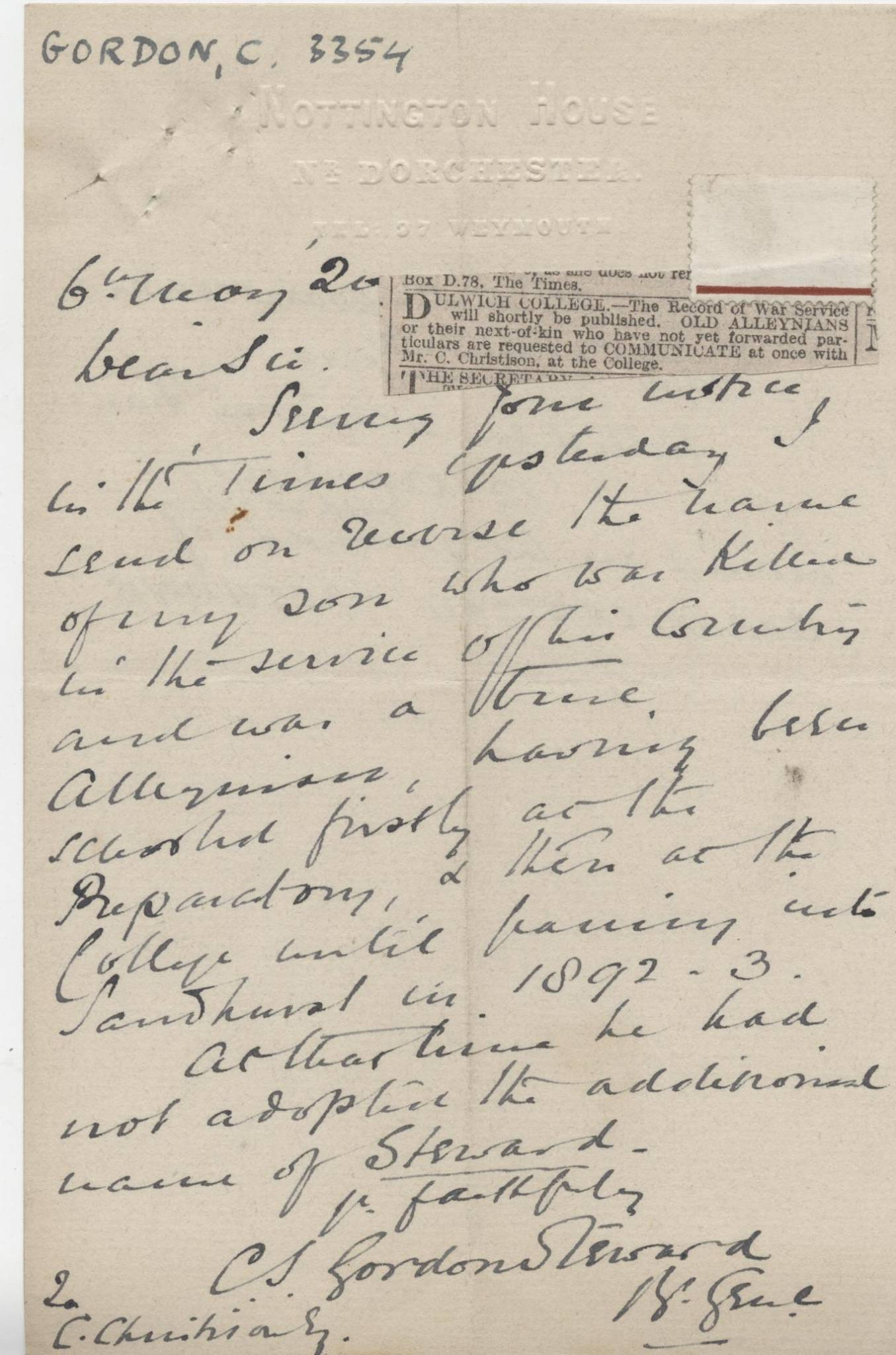 Gordon-Steward CW Letter 1