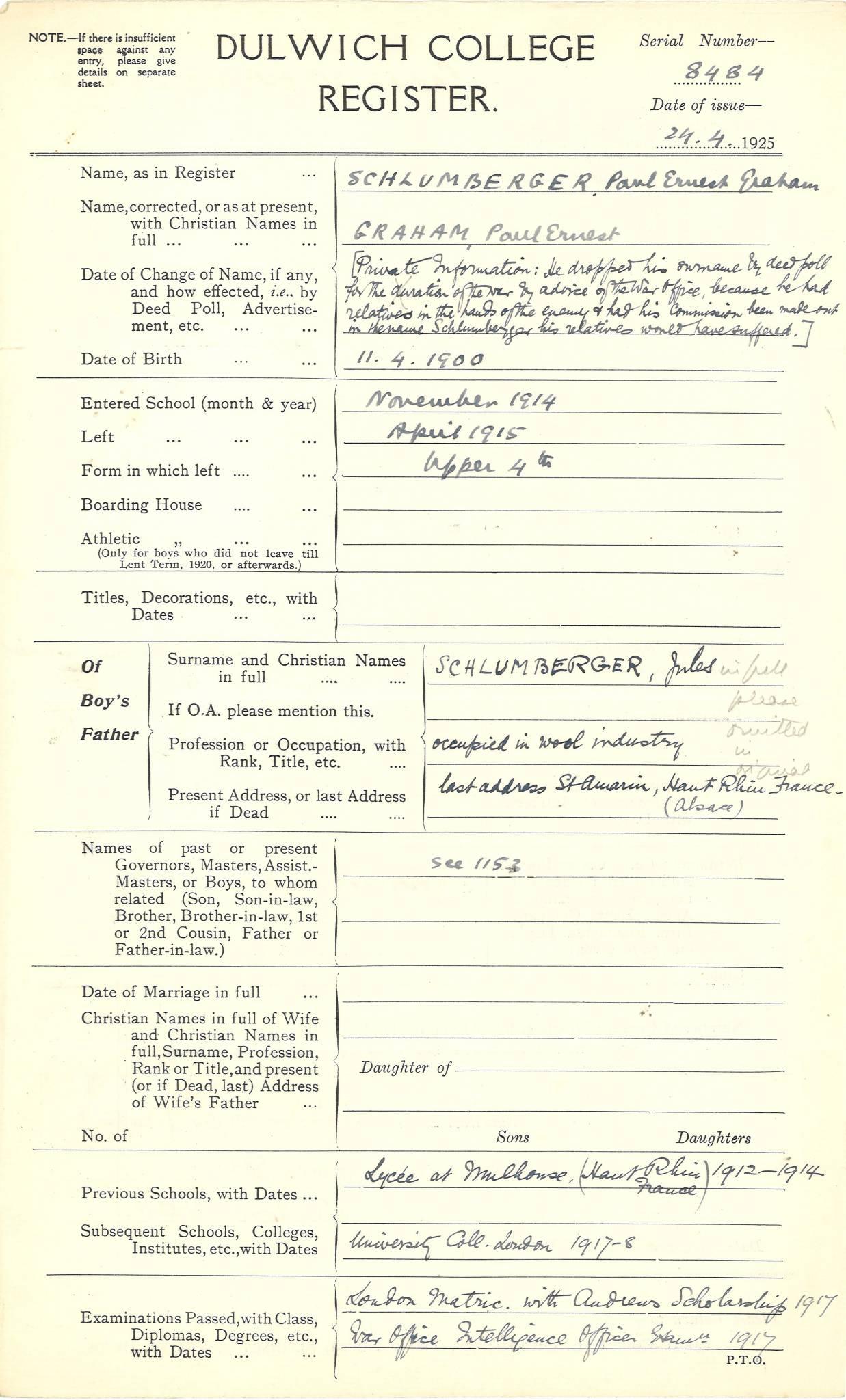 Graham PE Questionnaire 1