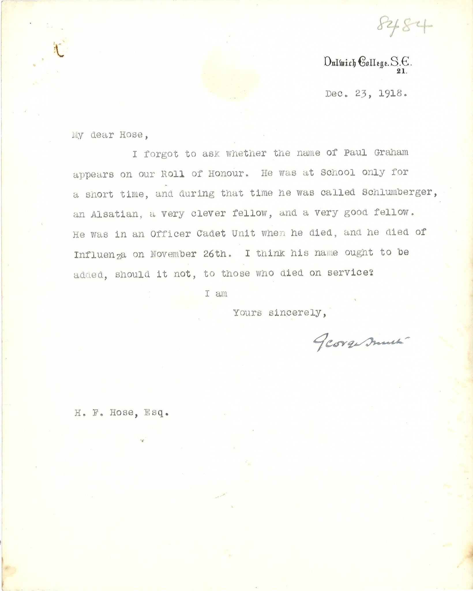 Graham PE Smith Letter