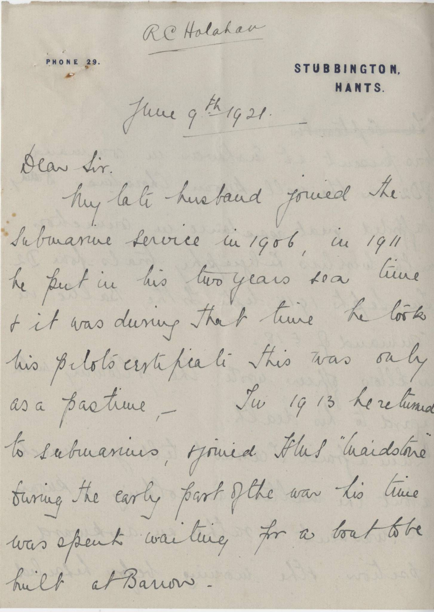 Halahan RC Widow Letter 1