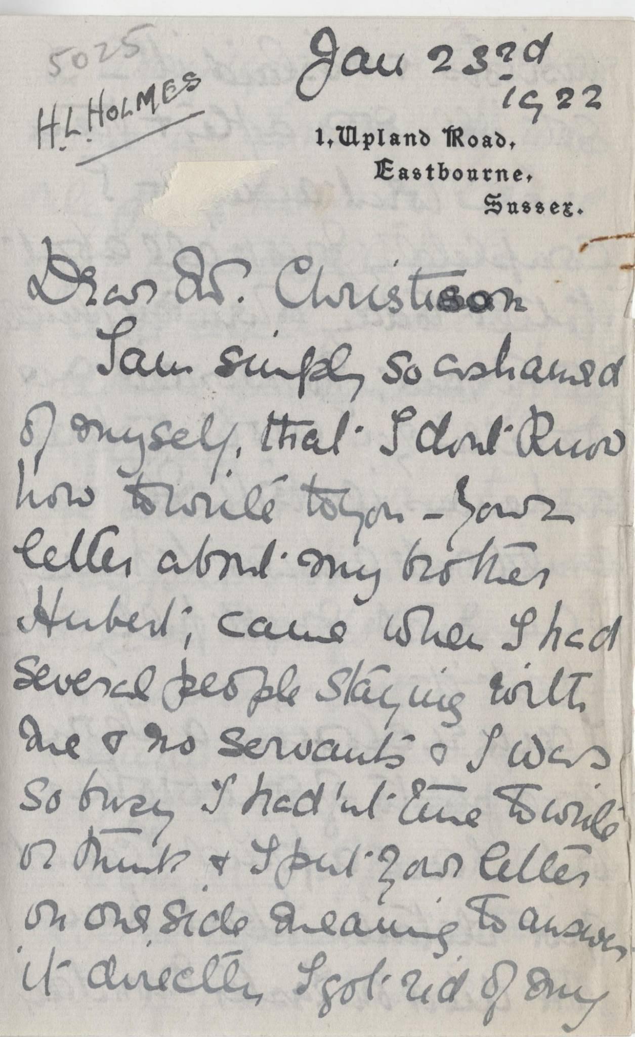 Holmes HL First Sister Letter 1