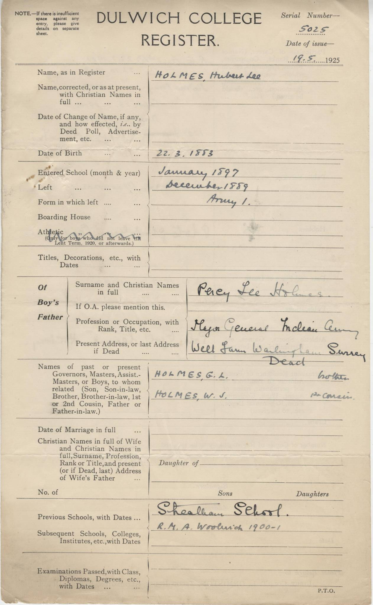 Holmes HL Questionnaire 1