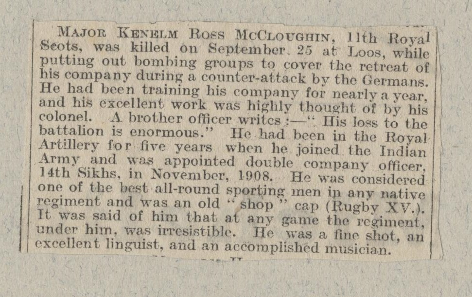 McCloughin KR First Obituary