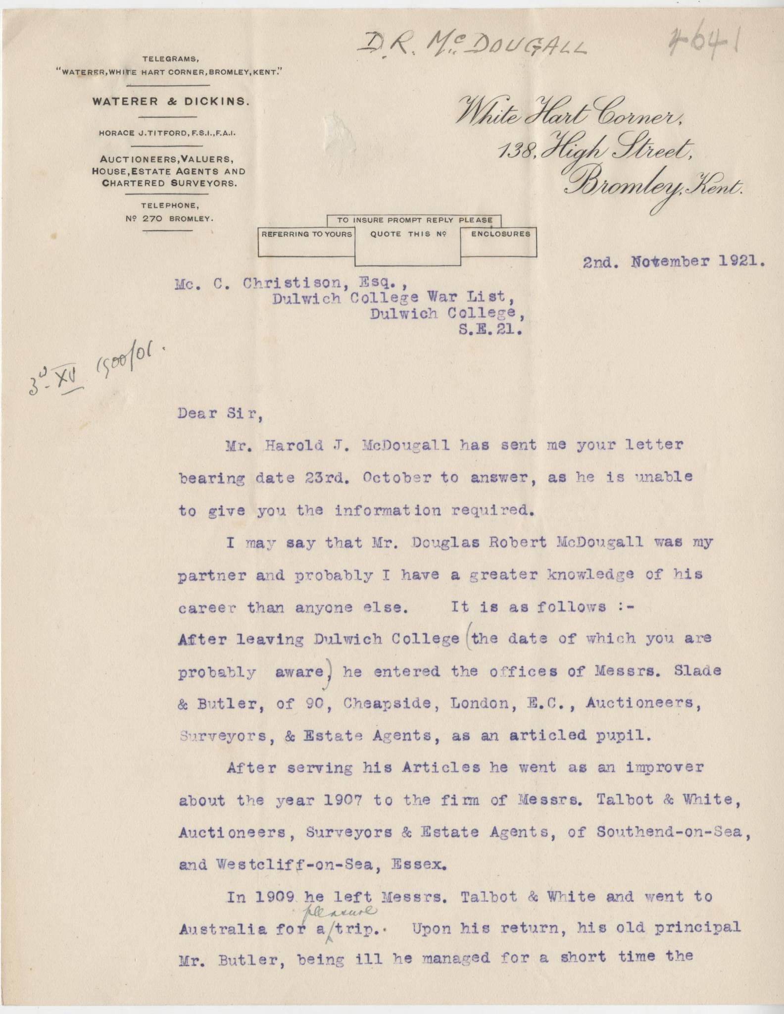 McDougall DR Letter 1