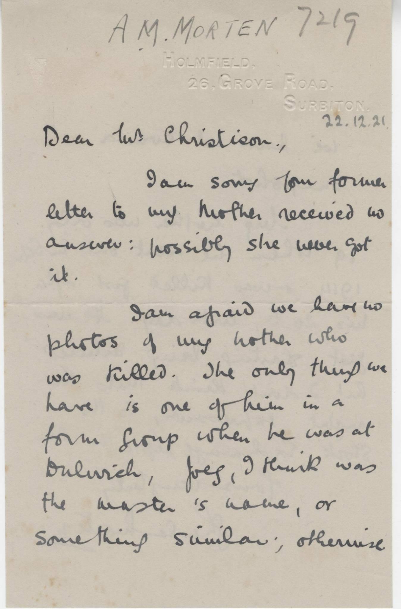 Morten AM Sister Letter 1