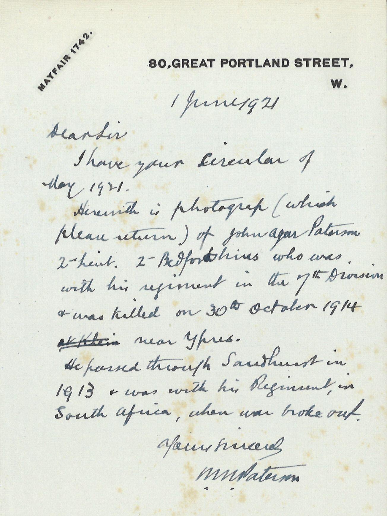 Paterson JA Father Letter