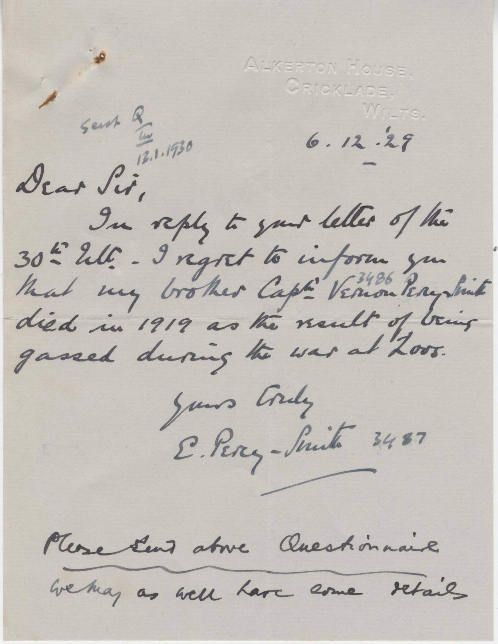 Percy Smith V Letter
