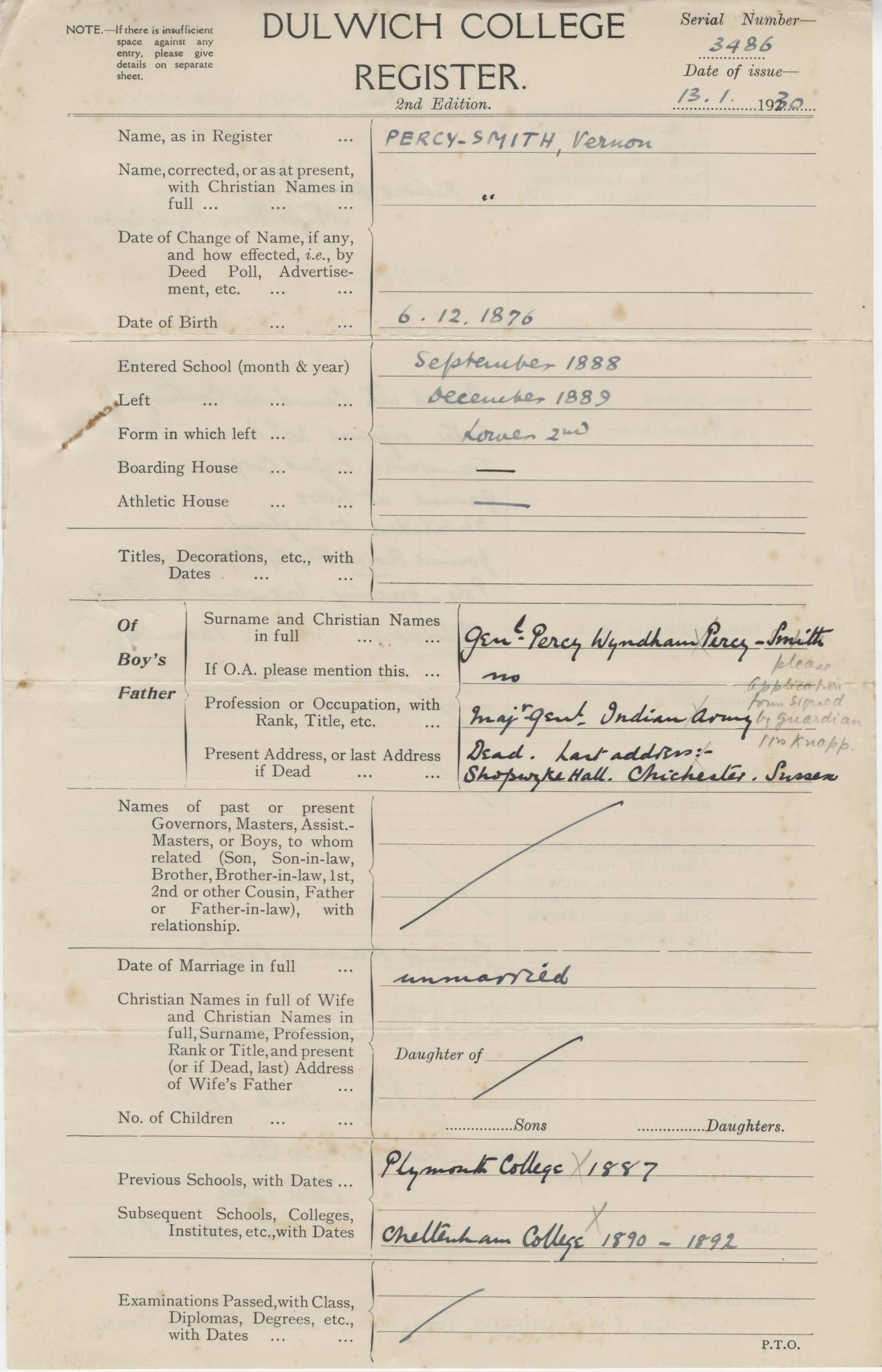 Percy Smith V Questionnaire 1