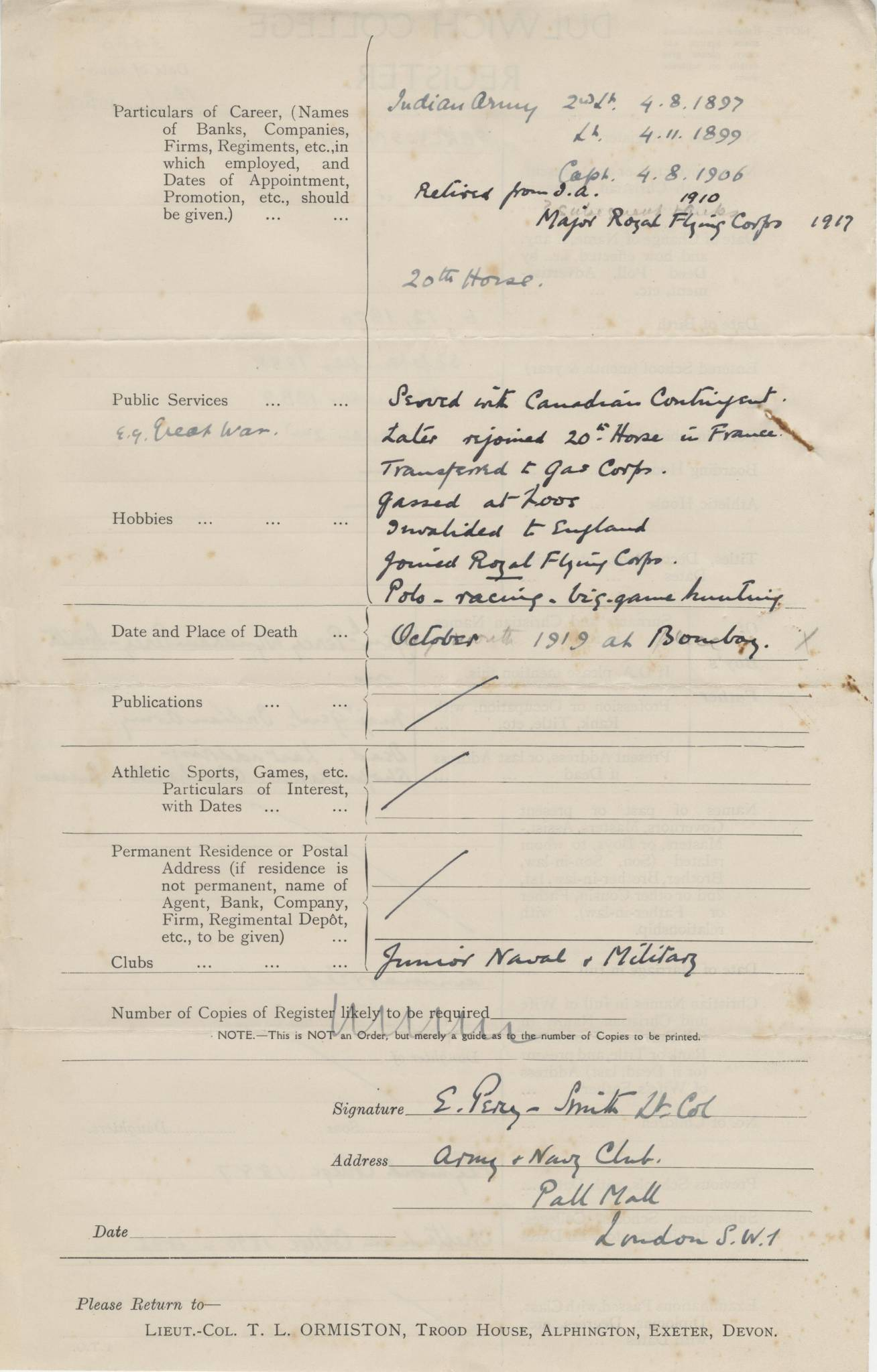 Percy Smith V Questionnaire 2