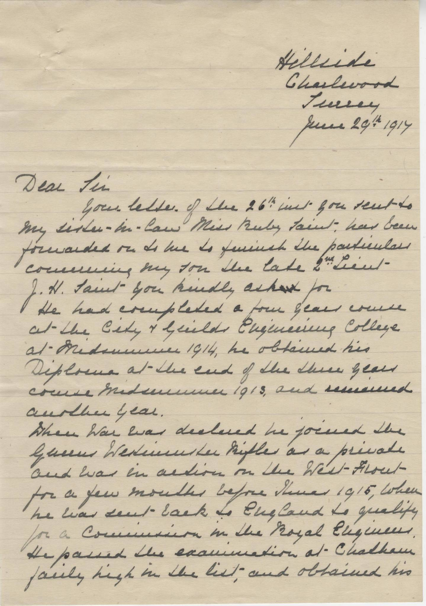 JH Saint Second Mother Letter - Dulwich College 1914-18