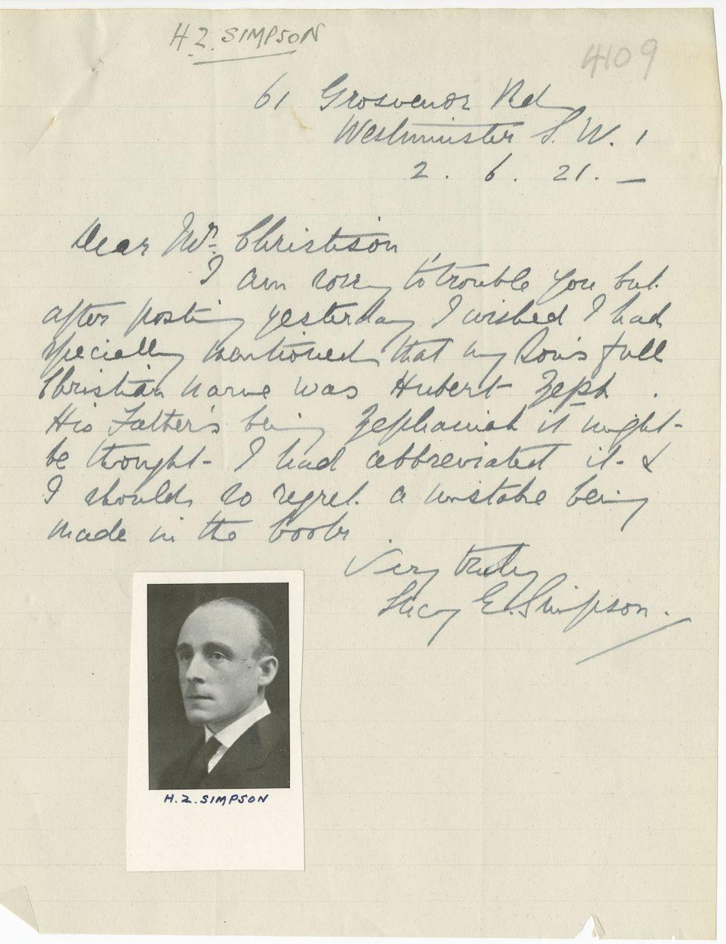 Simpson HZ Letter
