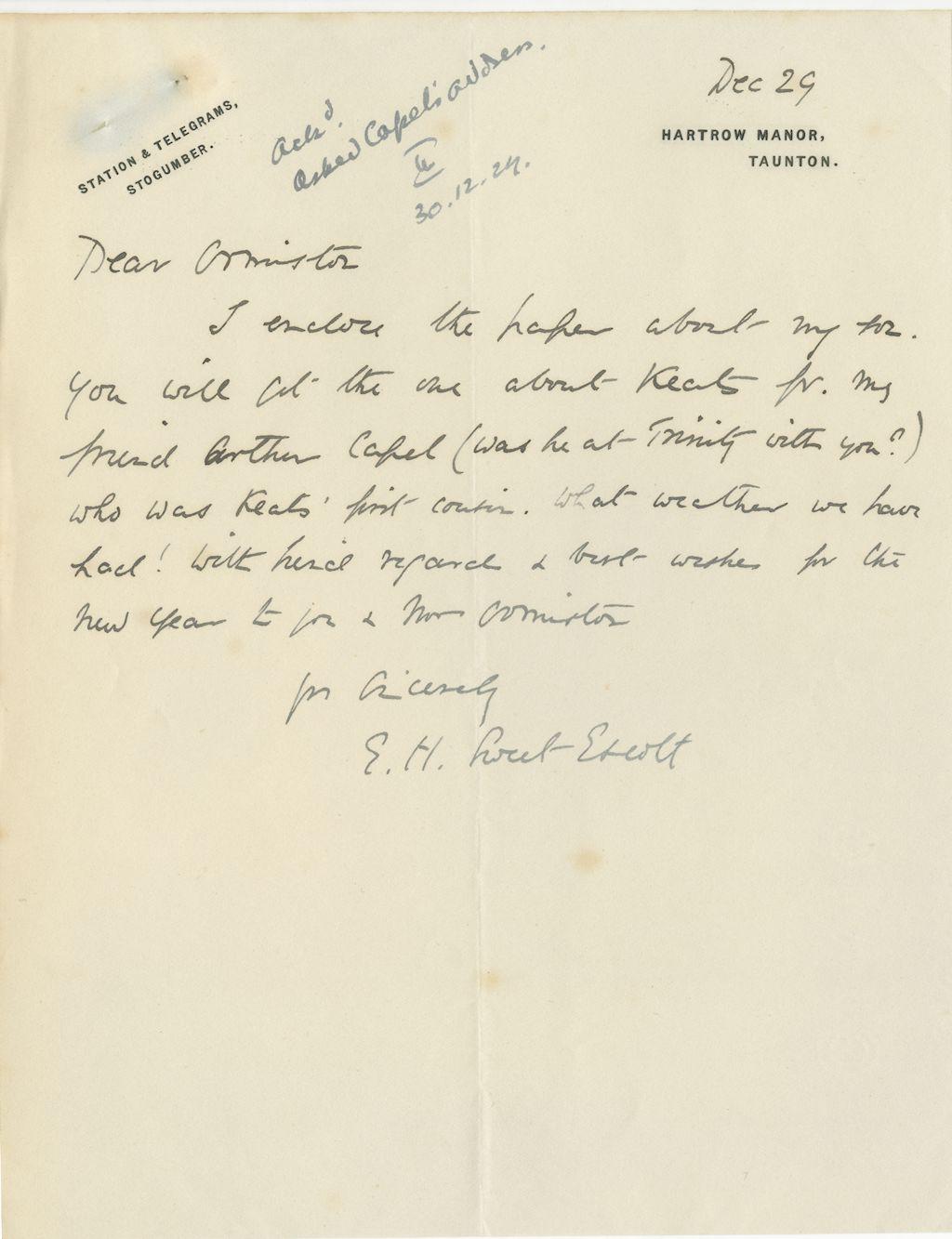 Sweet Escott MR Parents Letter