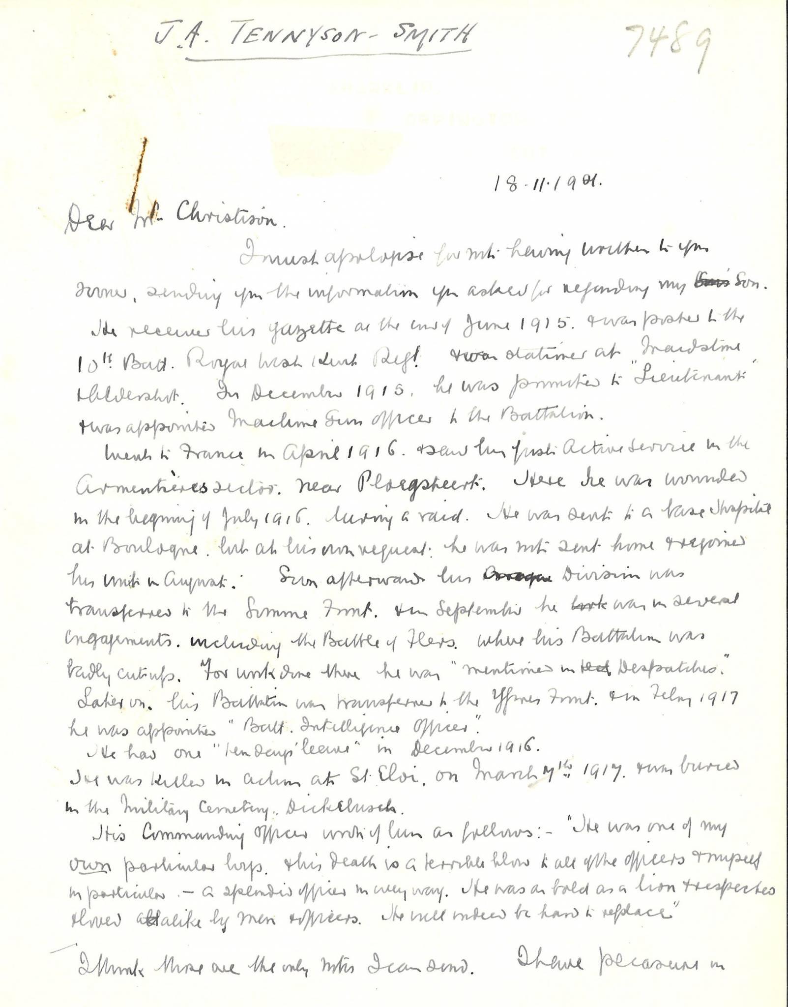 Tennyson Smith JA Father Letter 1