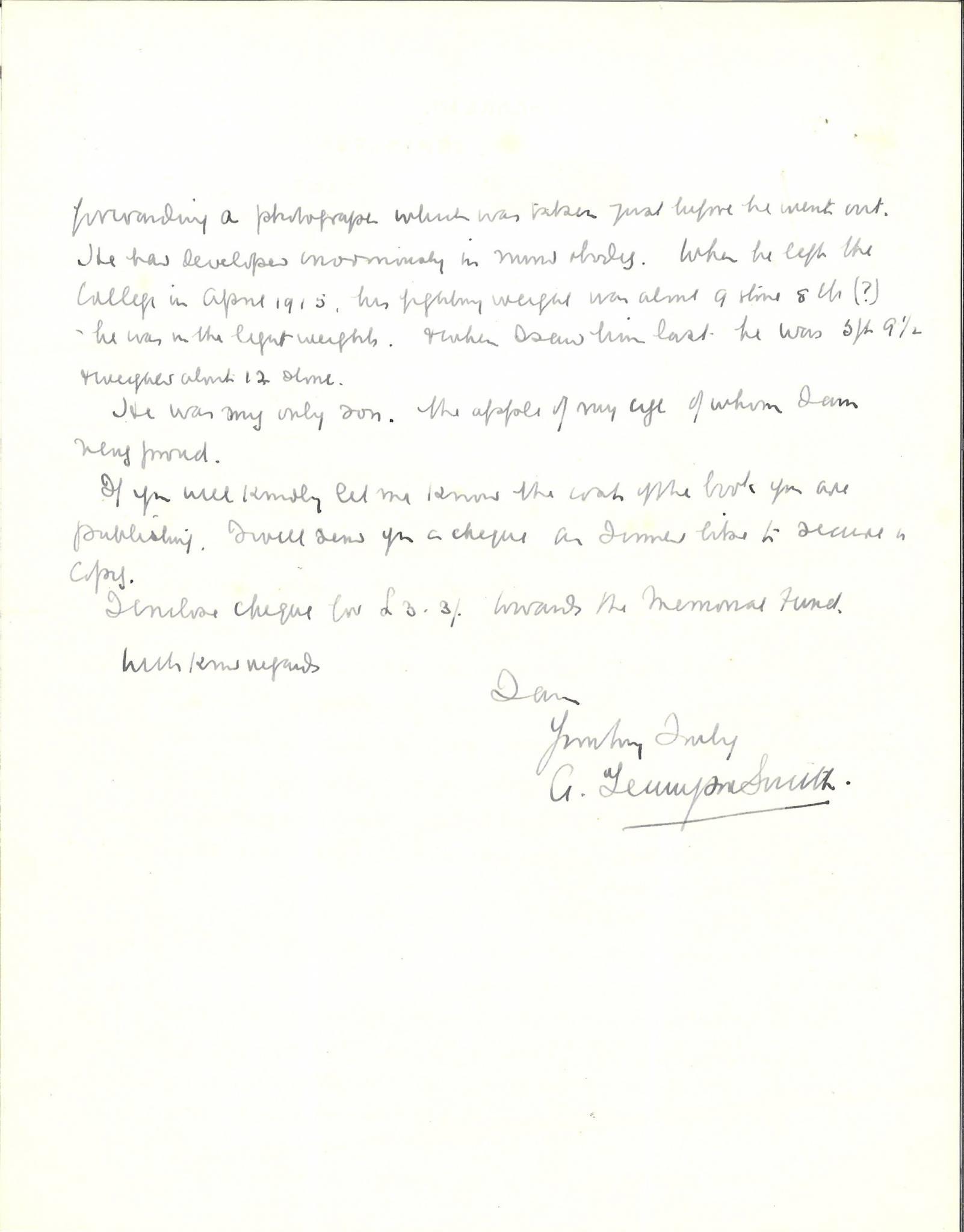 Tennyson Smith JA Father Letter 2