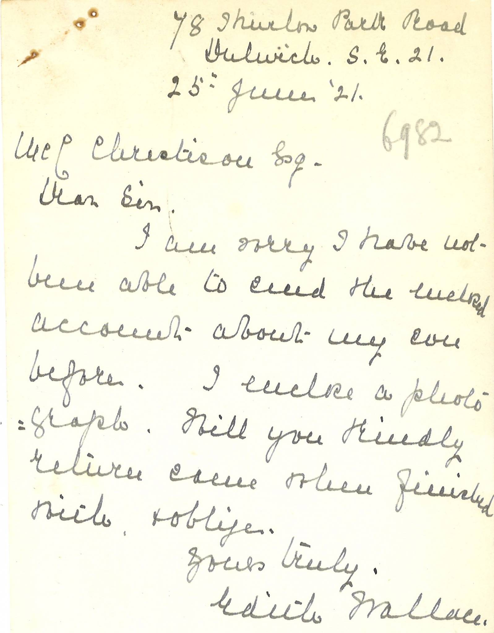Wallace HB Mother Letter