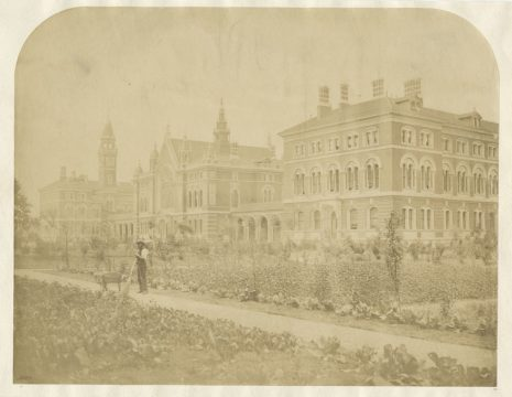 Photo of the Barry buildings taken in the early 1900s, looking across the College vegetable garden
