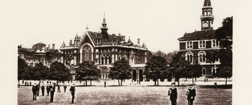 Photo of Dulwich College taken from the playing fields, 1908