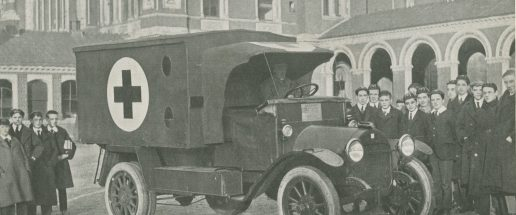 Photo taken during WW1 of an ambulance on College grounds