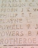 Close up on the name of Lieutenant PJG Powell, as it appears on the Arras Flying Services Memorial