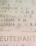 View of the Arras Flying Services Memorial, showing the name of Captain WGB Williams