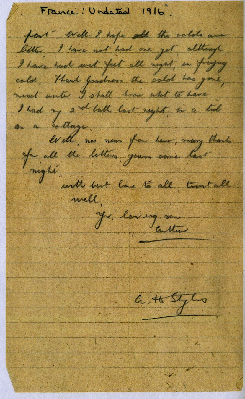 AH Styles letter fragment 1916. Photo courtesy of the Haines family archive.